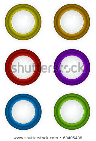 6 round 3d techno reflective colored button icons Stock photo © Melvin07