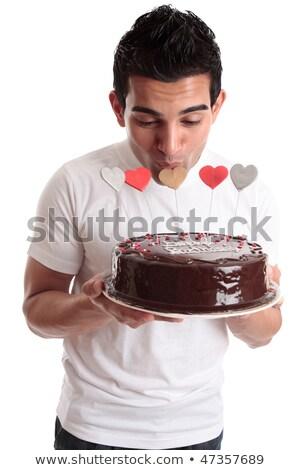 Hombre amor corazón torta pastel de chocolate Foto stock © lovleah