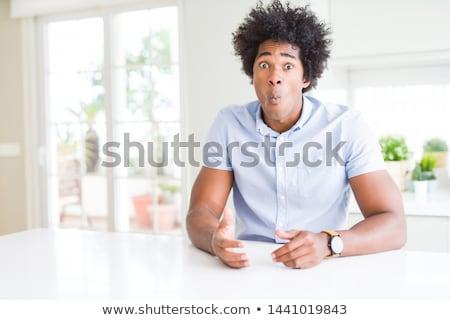 portré · férfi · készít · szomorú · vicces · arc · férfi - stock fotó © elenaphoto