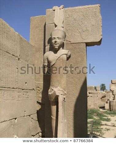 statues around precinct of amun re stock photo © prill