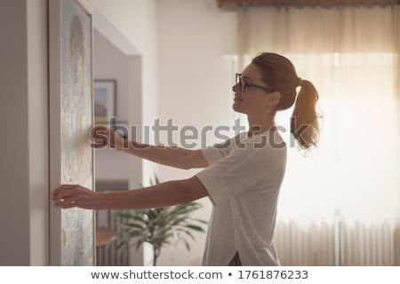 Homme chambre échelle peinture pot premier plan Photo stock © gemphoto
