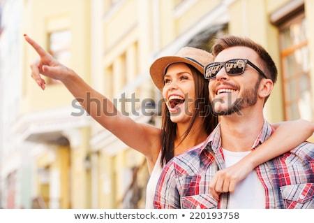 çift · sevmek · park · kadın · gülümseme - stok fotoğraf © get4net