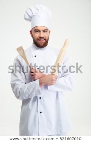 mężczyzna · kucharz · gotować · łyżka · portret - zdjęcia stock © imarin