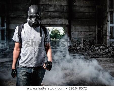Terörist gaz maskesi portre ceza adam Stok fotoğraf © tiero