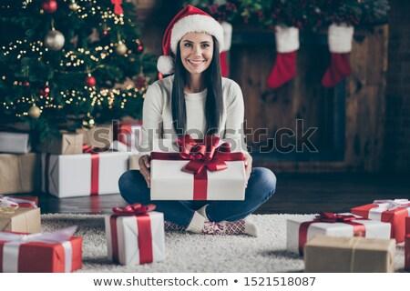 mulher · natal · decorações · cabelo · quadro · cara - foto stock © photography33