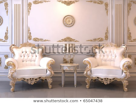 Foto stock: Classic Luxury Armchairs In Royal Interior With Column