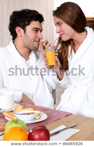 fiatal · nő · fehér · fürdőköpeny · kávé · társalgó · nappali - stock fotó © photography33