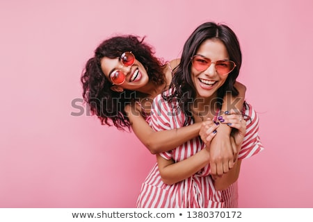 Fashion model cheerful girl - pleasure and joy Stock photo © gromovataya
