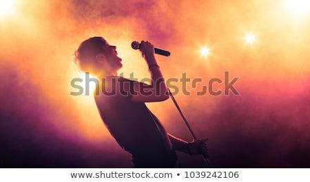 караоке · певицы · человека · пения · лице · фон - Сток-фото © hitdelight