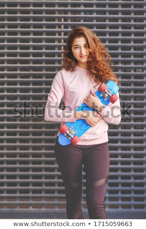 Pretty girl jumps in the park - copyspace Stock photo © bigjohn36