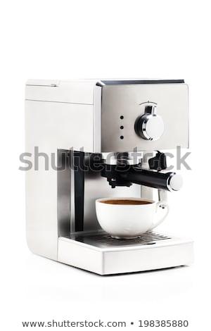 Koffiezetapparaat witte achtergrond metaal drinken cafe Stockfoto © ozaiachin