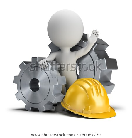 3d small people   gears and helmet stock photo © anatolym