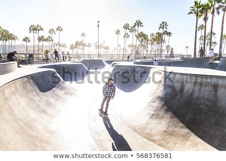boy rides his skateboard at the skate park stock photo © meinzahn