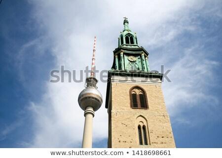 ストックフォト: ベルリン · テレビ · 塔 · テレビ塔 · 教会 · 表示