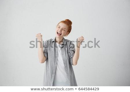 lächelnd · Mädchen · Sieg · Geste - stock foto © kyolshin