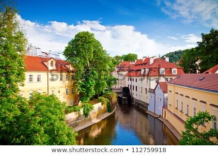 dar · sokak · Prag · eski · bölge · gündoğumu - stok fotoğraf © cosma