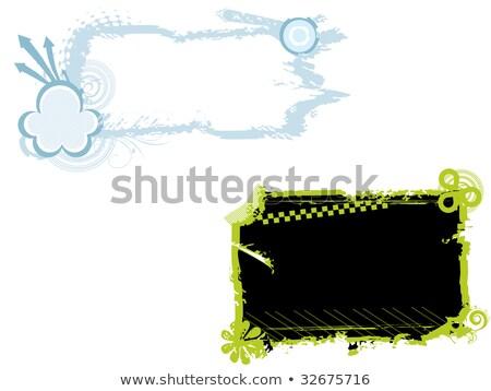 fekete · kék · virágmintás · festék · folt · grunge - stock fotó © mikemcd