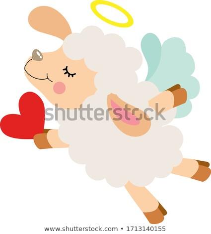 ストックフォト: 飛行 · 羊 · ジャンプ · ドレス · 子羊 · アイコン