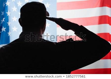 katona · zászló · elöl · kilátás · férfi · kék - stock fotó © patrimonio