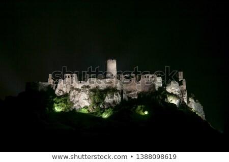 Capítulo castelo noite Eslováquia edifício luz Foto stock © phbcz