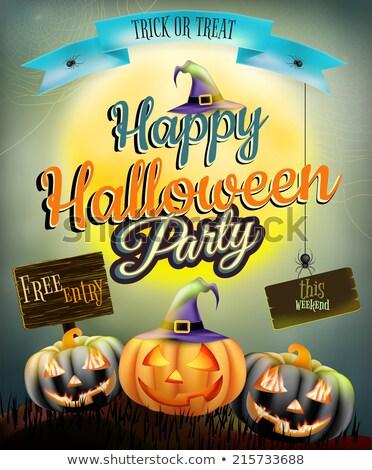 halloween · plakat · pająk · księżyc · niebo - zdjęcia stock © beholdereye