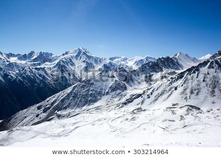Stock fotó: Friss · hó · hegyek · fedett · por · égbolt