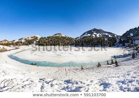 Cratere lago neve parco cielo albero Foto d'archivio © meinzahn