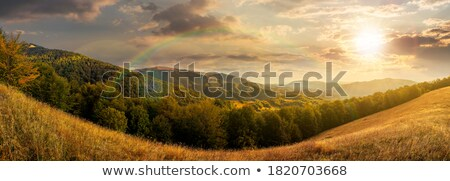 Range in spectacular sunset light with rainbow Stock photo © meinzahn