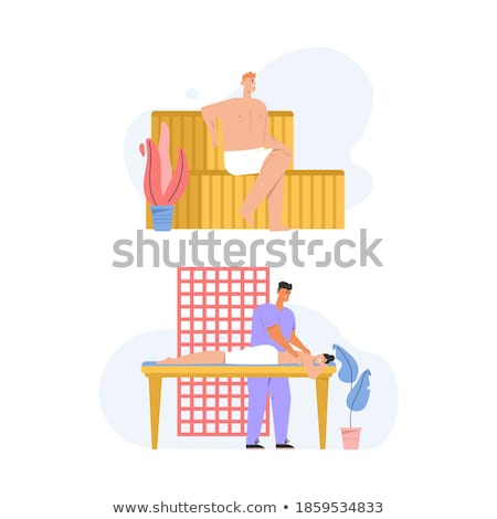 woman lying on wooden bench at sauna stock photo © candyboxphoto