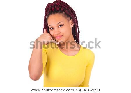 zwarte · vrouw · luisteren · gebaar · hand · achter · oor - stockfoto © alexandrenunes