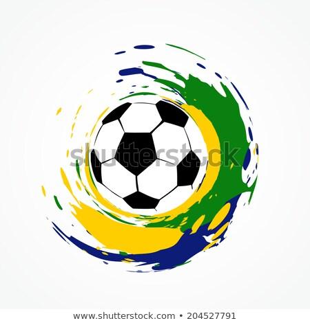 Brazil Colors Splash Grunge Soccer Ball Design Vector Stockfoto © PinnacleAnimates