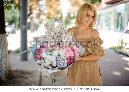 Pure Beauty. Girl holding White Peony Flower Stock photo © gromovataya
