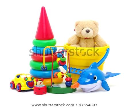 Kinderen speelgoed collectie geïsoleerd witte groene Stockfoto © EwaStudio