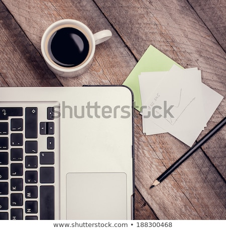 Freelance work table with notepaper and coffee Stock photo © nalinratphi