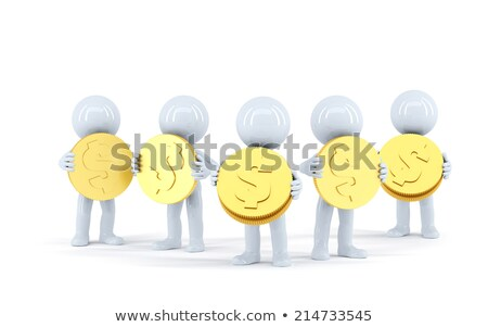 group of 3d people with gold shiny coins isolated contains clipping path stock photo © kirill_m