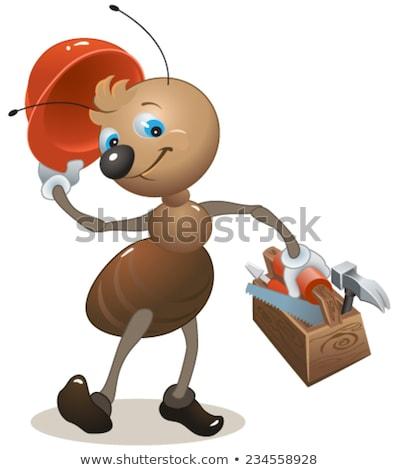 Carpinteiro formiga capacete caixa de ferramentas vetor Foto stock © orensila