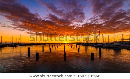 пейзаж · лодка · порт · рассвета · пляж - Сток-фото © lameeks