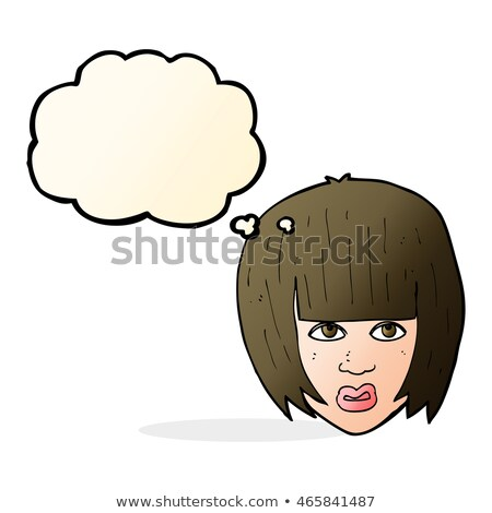 cartoon annoyed girl with big hair with thought bubble Stock photo © lineartestpilot