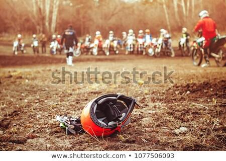vuile · motorfiets · motorcross · helm · stofbril · avontuur - stockfoto © Kor