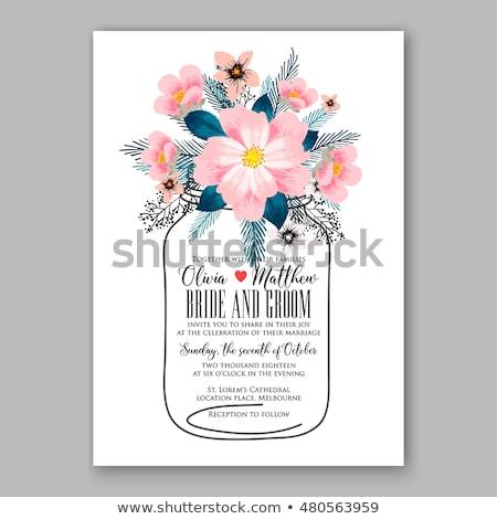 wedding invitation border hibiscus stock photo © irisangel