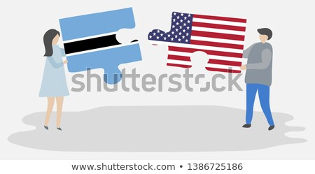 USA Botswana flagi puzzle wektora obraz Zdjęcia stock © Istanbul2009