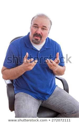 Bearded Guy Sitting on Chair Explaining Something Stock photo © ozgur