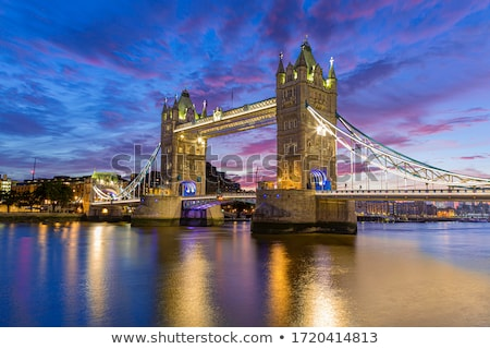 Tower Bridge Londen nacht bewegende Rood bus Stockfoto © vwalakte