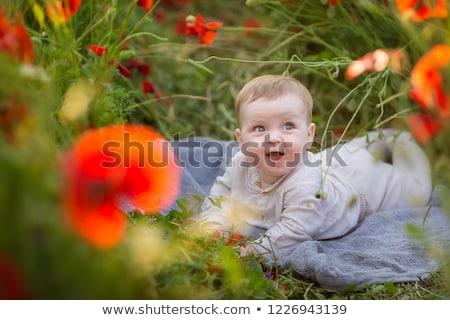 若い女の子 · 花 · 笑みを浮かべて · 子供 · 幸せ - ストックフォト © stryjek