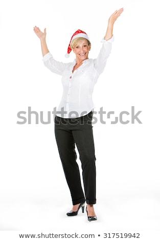 Kadın müdür Noel şampanya şapka tatil Stok fotoğraf © Flareimage