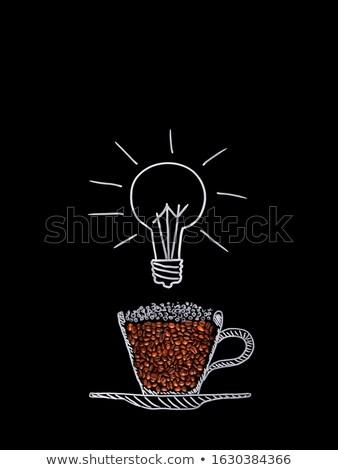 blackboard with drawing light bulb closeup stock photo © tetkoren