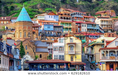 Colorful carved balconies in the Old Town of Tbilisi Stock photo © master1305