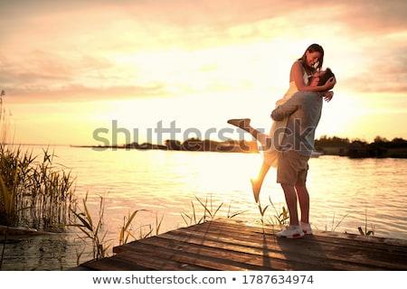 csók · nyak · emberi · pár · készít · szeretet - stock fotó © bezikus