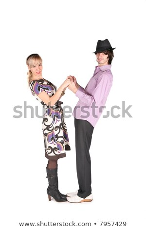 girl and boy in black hat to be held for the hands on white Stock photo © Paha_L