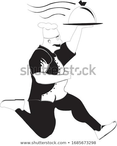 rajz · szakács · tart · olasz · eredeti · pizza - stock fotó © elgusser